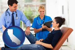 california map icon and an orthopedist examining a patient