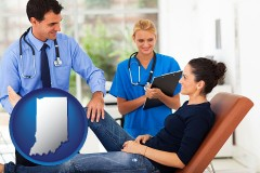 indiana map icon and an orthopedist examining a patient