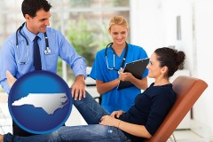 north-carolina map icon and an orthopedist examining a patient