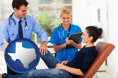 texas map icon and an orthopedist examining a patient
